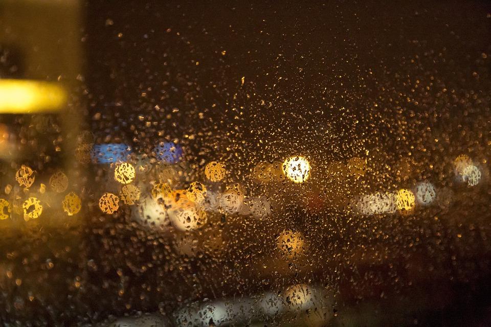 Night, Lights, Bokeh, Window, Rain, Drops, Droplets