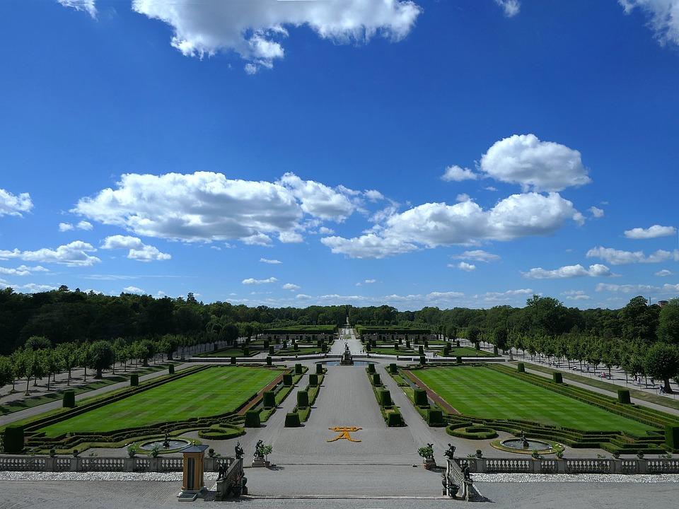 Park, Castle, Drottningholm, Sky, Clouds, Symmetry