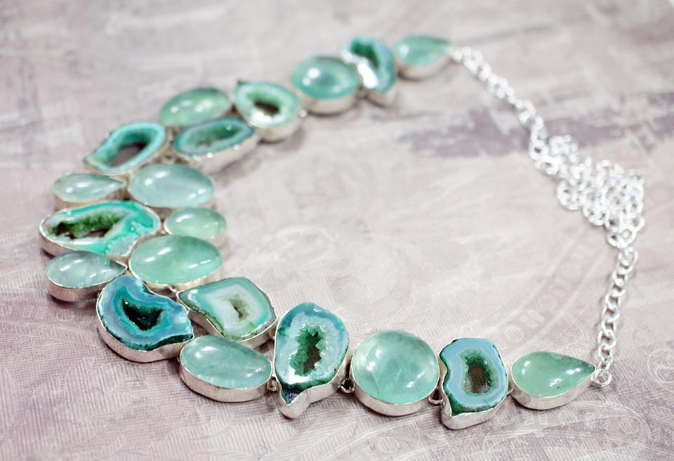 Apatite, Stone, Necklace, Aqua, Green, Druzy, Drusy