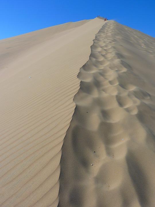 Dune, Desert, Dry, Hot, Sand, Dune Ridge, Footprints