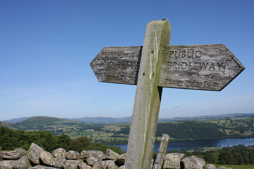 Lake District, Sign, Wood, Wall, Dry Stone Wall
