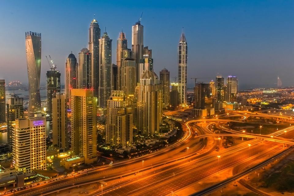 Dubai, Emirates, Down, Building, Sky, Cityscape