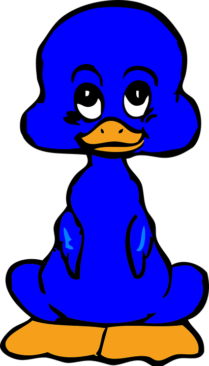 Duckling, Blue, Cute, Comic, Bird, Funny, Disney