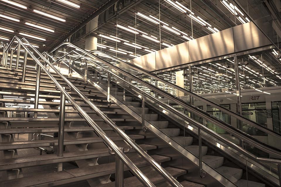 Stairs, Rotterdam, Station, Duo-tone