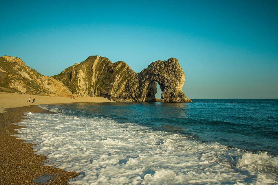 Durdle Door, Rock, Ocean, Sky, Seascape, Limestone Arch