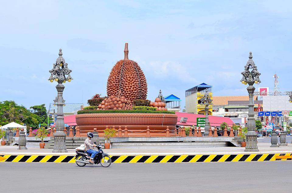 Kampot, Cambodia, City, Durian, Traffic, Motorbike