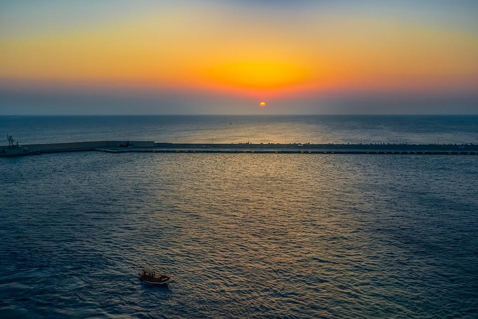 Sunset, Sea, Colors, Water, Ocean, Boat, Solitary, Dusk