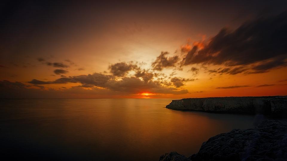 Sunset, Dawn, Dusk, Ocean, Rock, Clouds, Bank, Waters