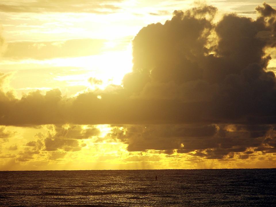 Litoral, Beira Mar, Beach, Sunrise, Horizon, Dusk Dawn