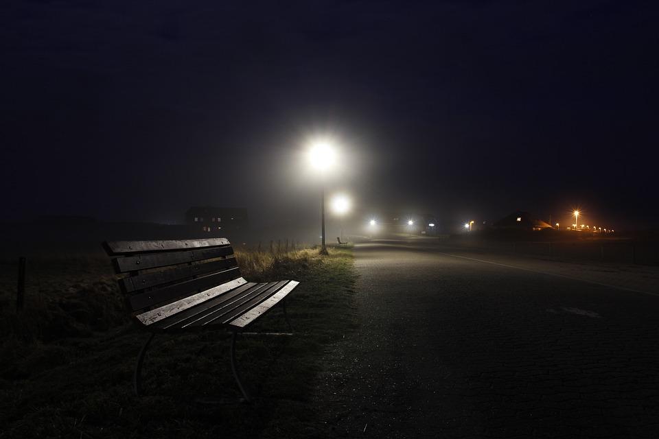 Fog, Dusk, Lantern, Road, Evening, Darkness