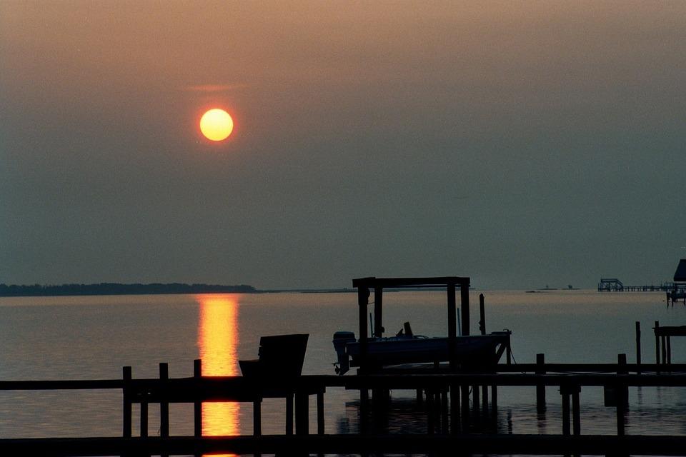 Sunset, Boat, Ocean, Scenic, Seascape, Silhouette, Dusk