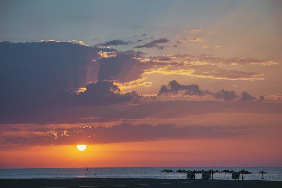 Beach, Sunset, Sky, Sea, Clouds, Outdoors, Dusk