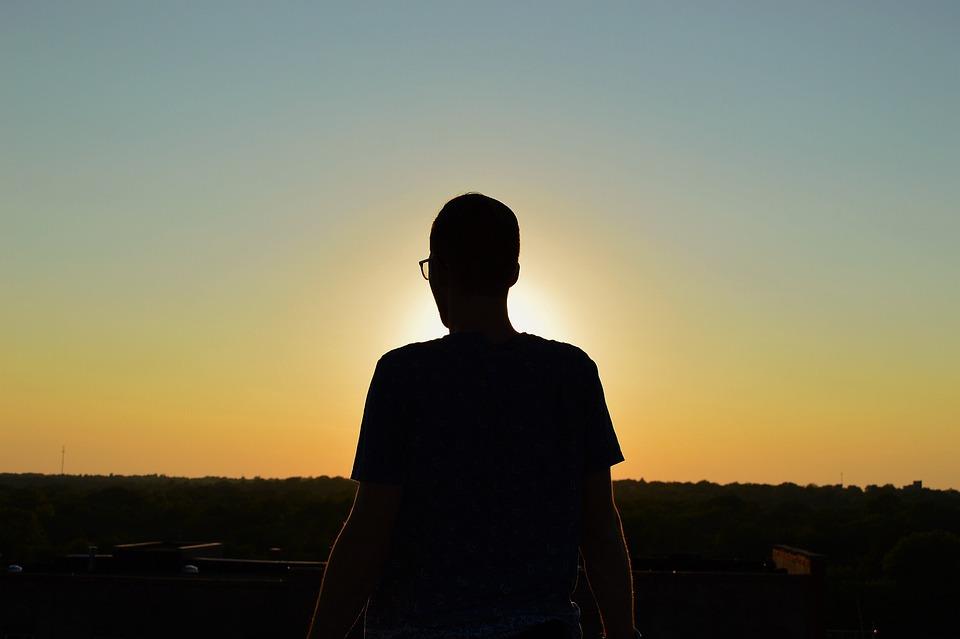 Sunset, Dusk, Sky, Shadow, Silhouette, Guy, Man