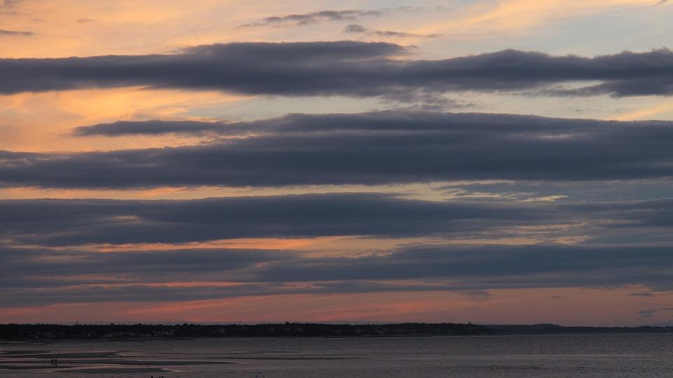 Evening Clouds, Dusk, Sun, Water, Summer, Colour
