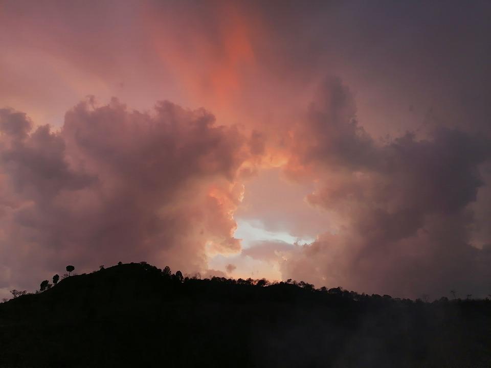 Sunset, Mountain, Silhouette, Backlighting, Dusk