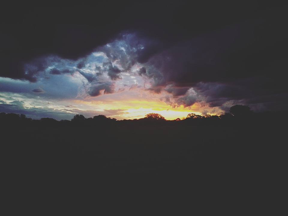 Sunset, Thunderstorm, Silhouettes, Dusk, Clouds