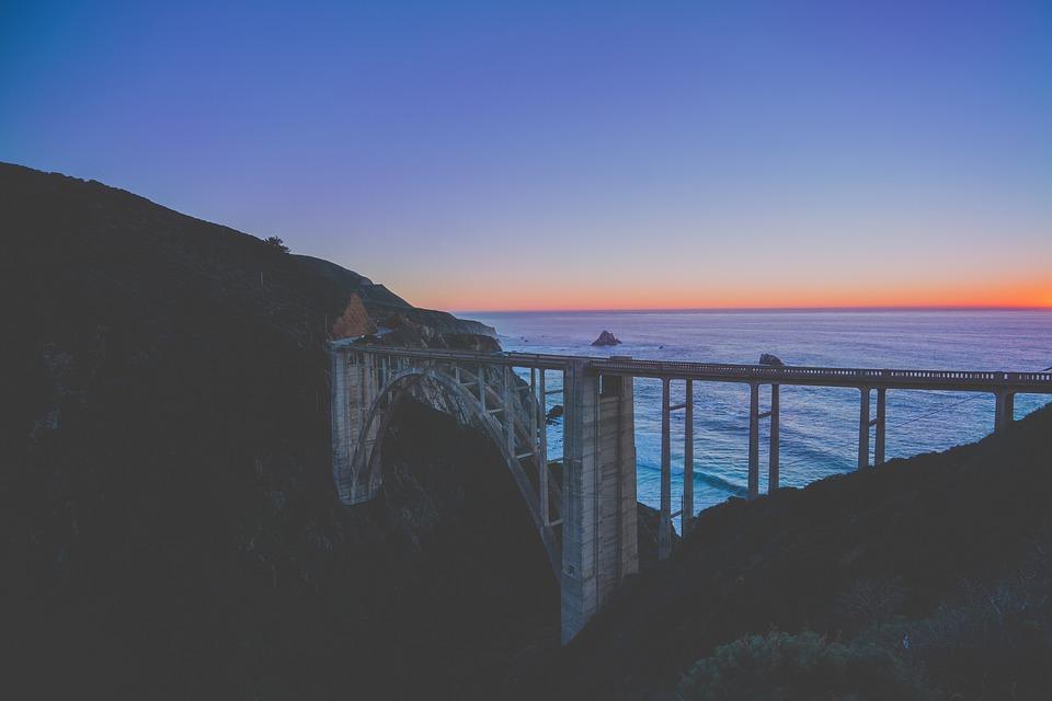 Sunset, Dusk, Bridge, Sky, Horizon, Mountains, Cliff