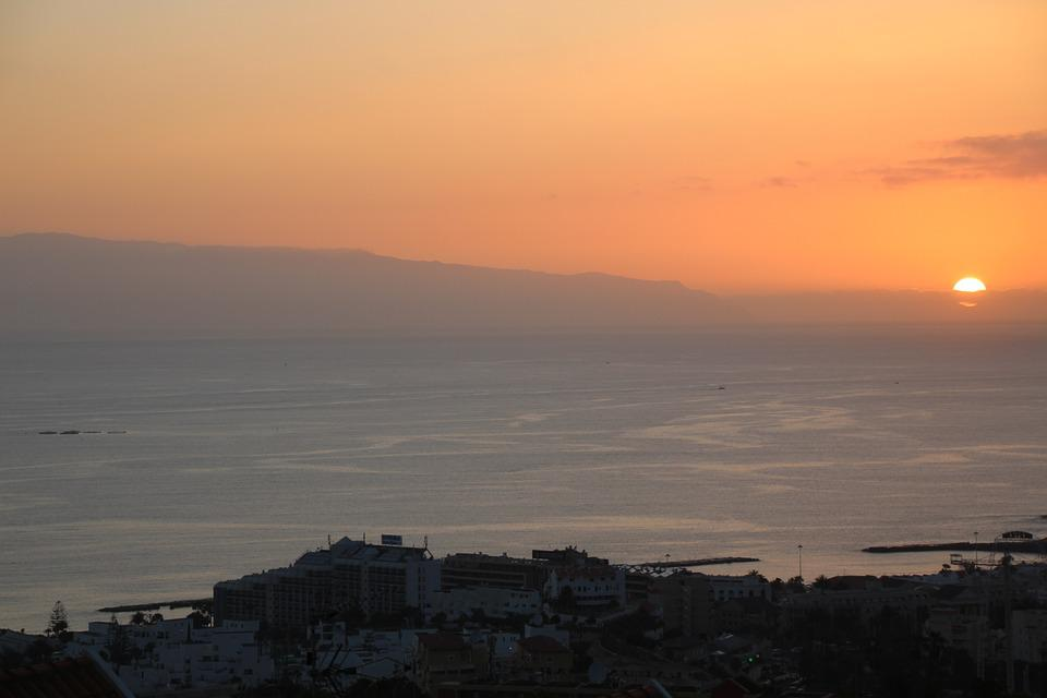 Sunset, Dusk, Twilight, Tenerife, In The Background