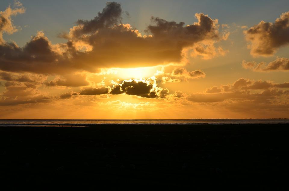 Sunset, Sea, Water, Sky, Evening, Dusk, Landscape, Lake