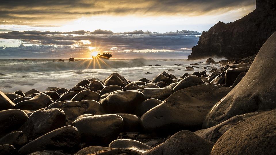 Rocks, Beach, Sea, Ocean, Sun, Sunset, Dusk, Twilight
