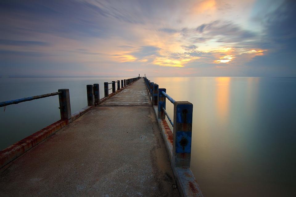 Jetty, Sea, Sunset, Horizon, Dusk, Twilight