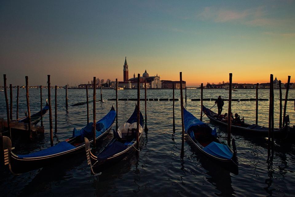 Venice, Gondolas, Boats, Water, Sunset, Dusk, Italy