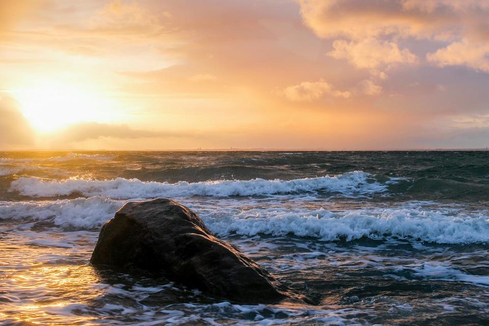Sunset, Waters, Sea, Dusk