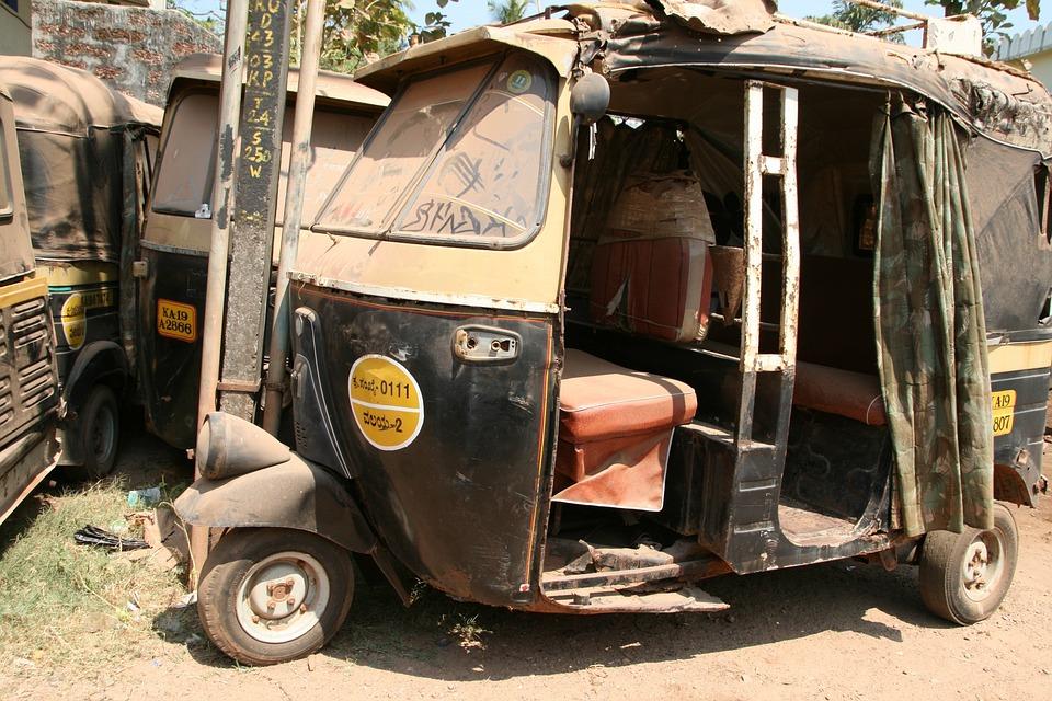 Tuk Tuk, Rust, Old Car, Automobile, Taxi, India, Dusty