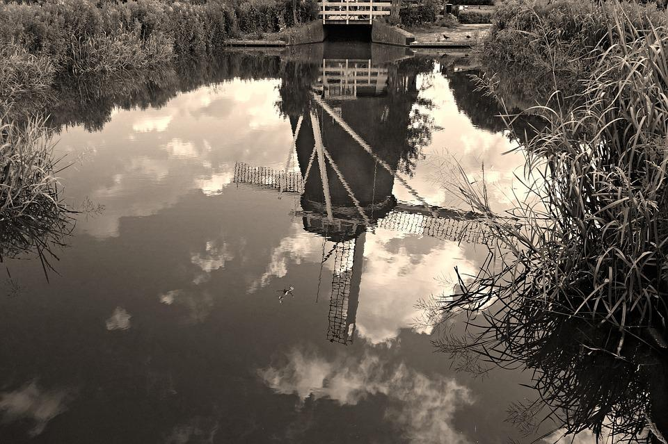 Windmill, Dutch, Holland, Historic, Reflection, Water