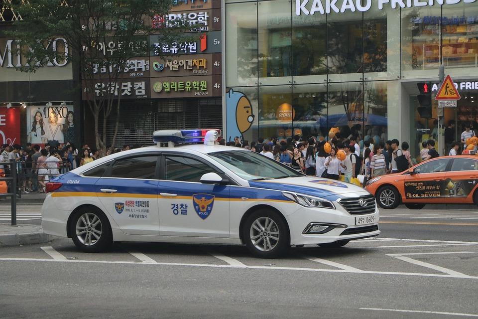 Republic Of Korea, Police, Police Car, Road, Duty
