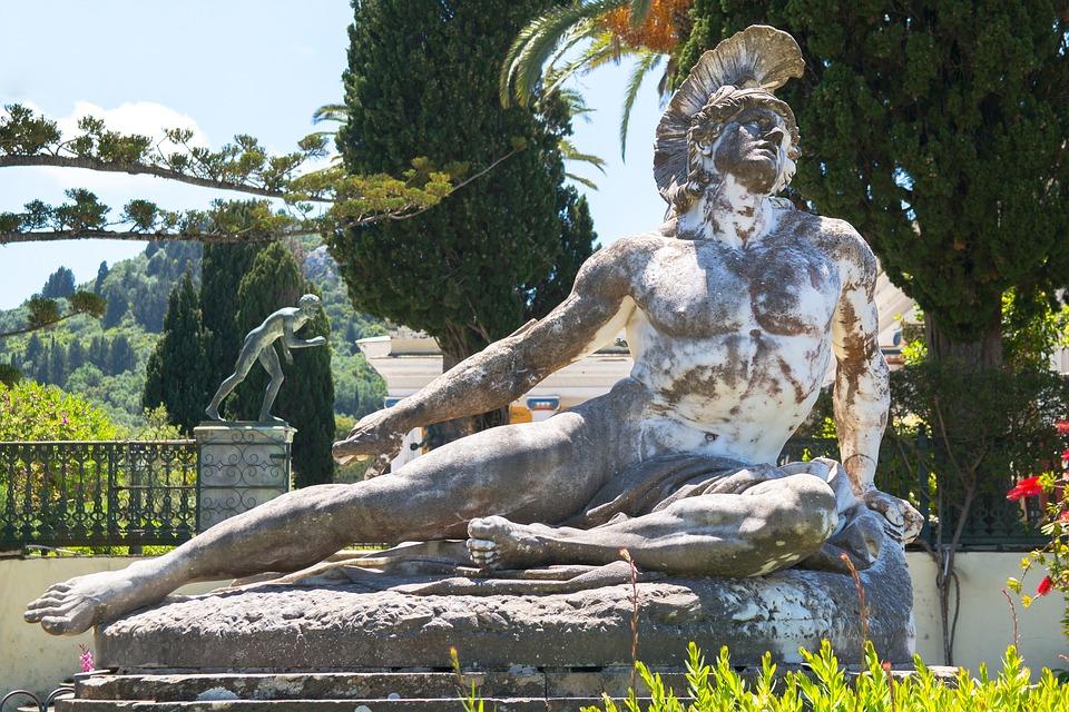 Achilleas Thniskon, Dying Achilles, Marble, Statue