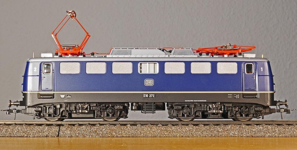 Model Railway, Electric Locomotive, Box E10, E 10, Blue