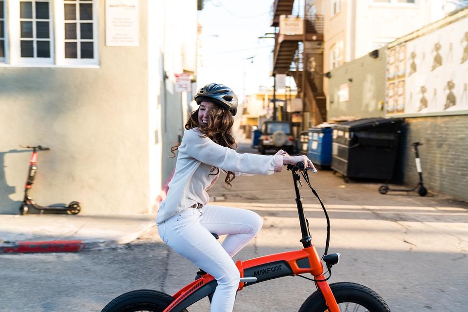 Folding, E-bike, Cycling, Girl, Lady, Helmet