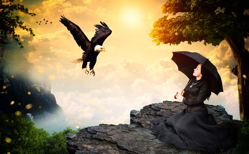 Girl, Black, Eagle, Female, Wild, Nature, Spirit