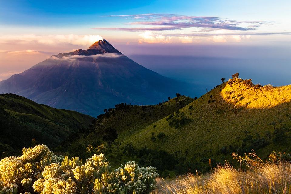 Landscape, Early Morning, Merapi Mountain, Volcano