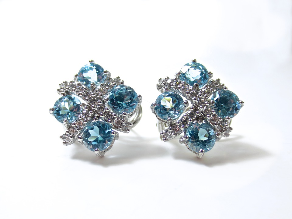 Earrings, Diamonds, Blue, Topaz, Gold, Silver, Luxury