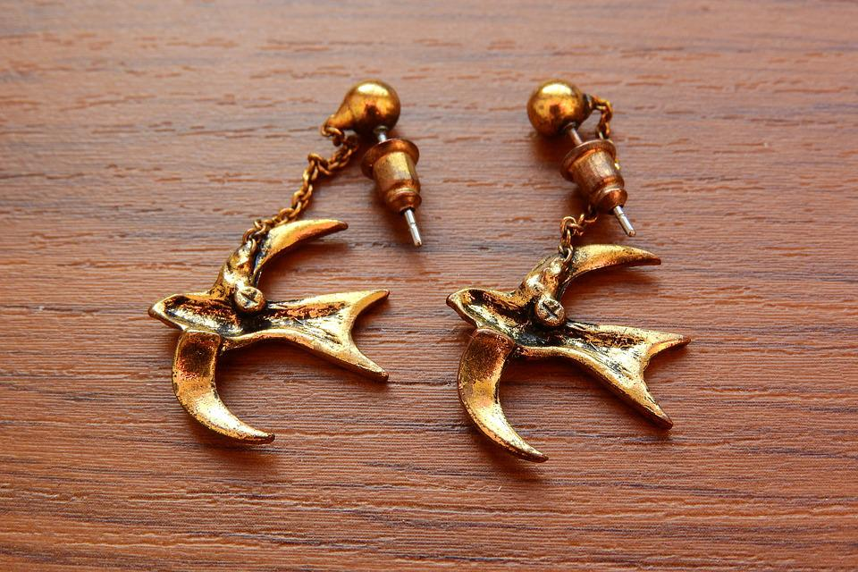 Earrings, Swallows, Gold Earrings, Jewelry