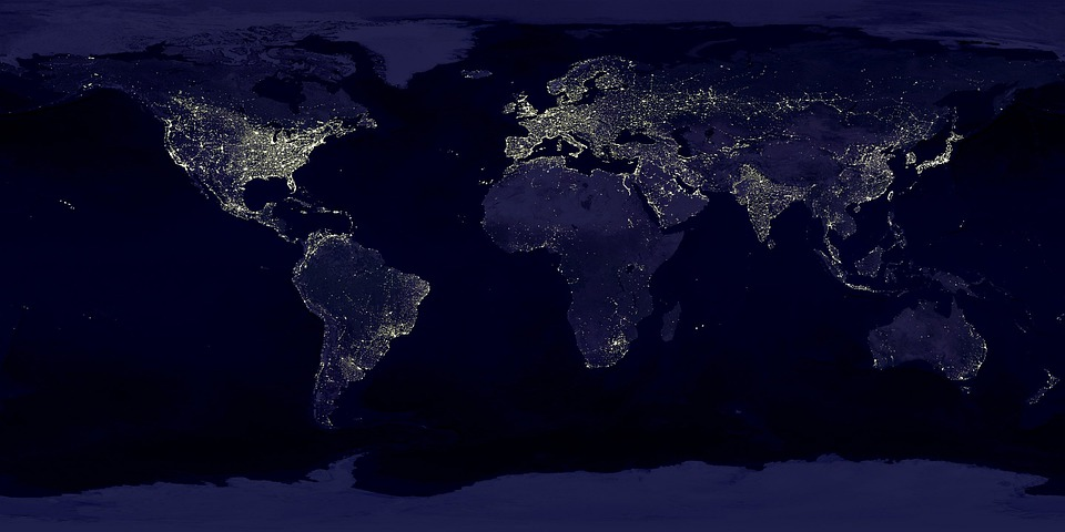 Earth, Earth At Night, Night, Lights, Lighting, Space