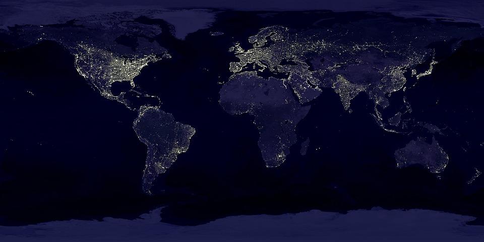 Earth, Earth At Night, Night, Lights, Lighting, Space
