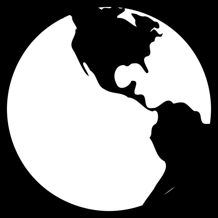 Globe, World, Earth, Black, White, Americas
