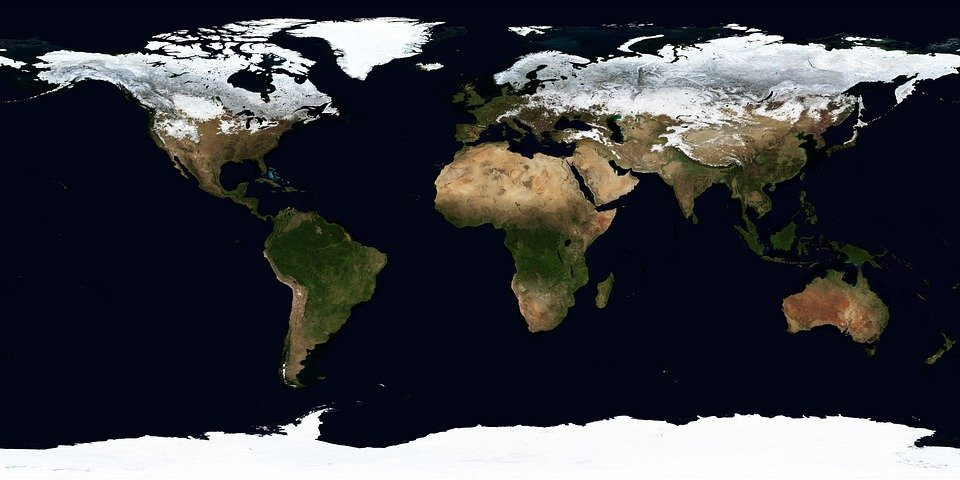 Earth, Map, Winter, January, Continents, Climate Zones