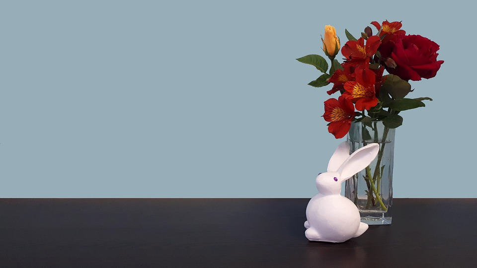 Bunny, Rabbit, Flowers, Easter, Blue, Wall, Table