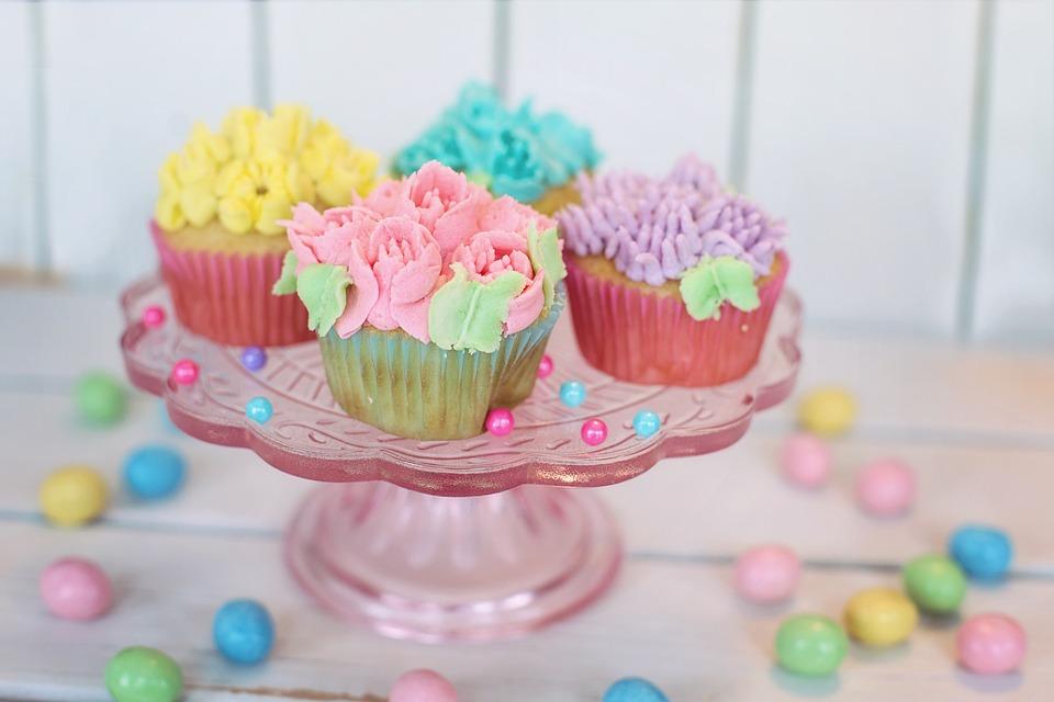 Cupcakes, Floral, Pastel, Easter, Cake, Celebration