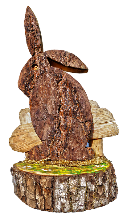 Easter Decoration, Easter, Hare, Bark, Carved