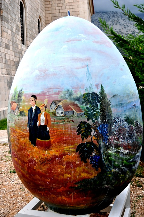 Easter Egg, Large, Painted, Orebic, Croatia, Easter