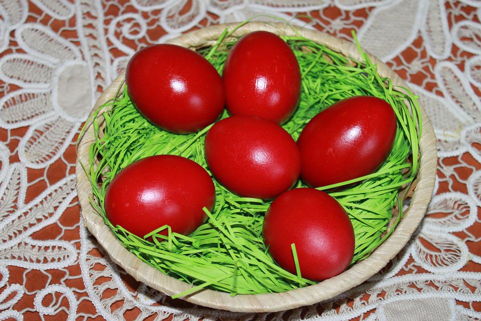 Food, Easter, Egg, Traditional, Red, Table, Basket