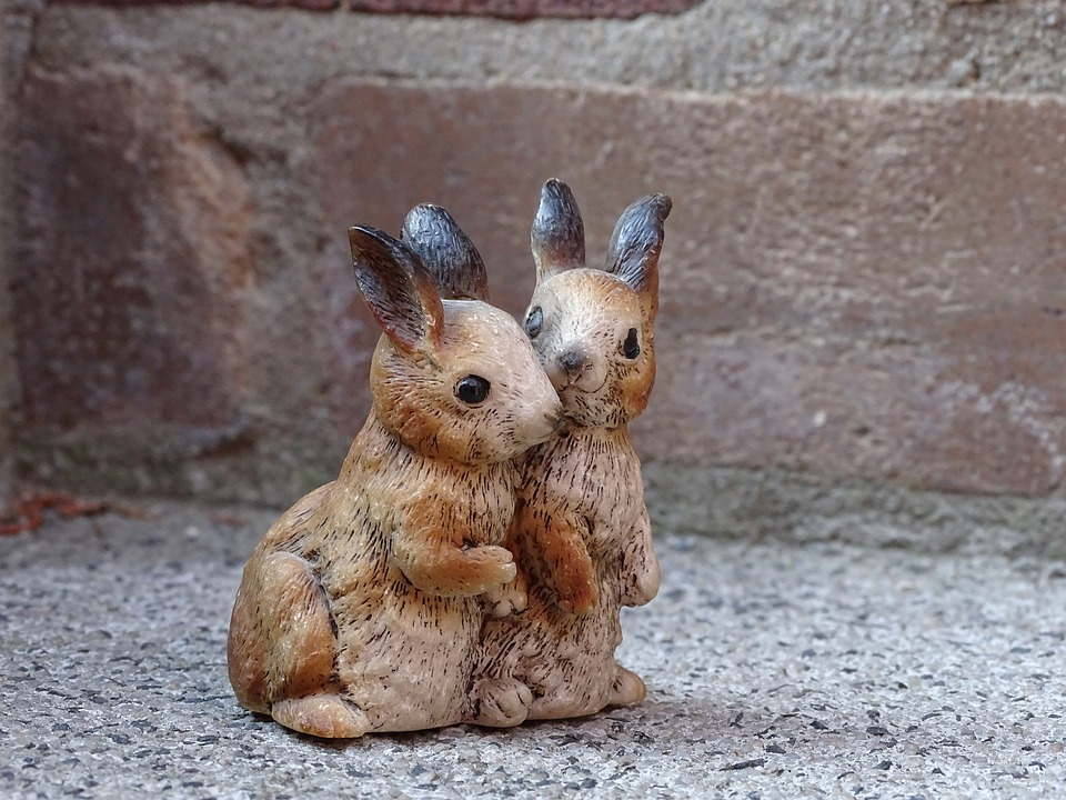 Hare, Bunny Couple, Couple, Figure, Easter