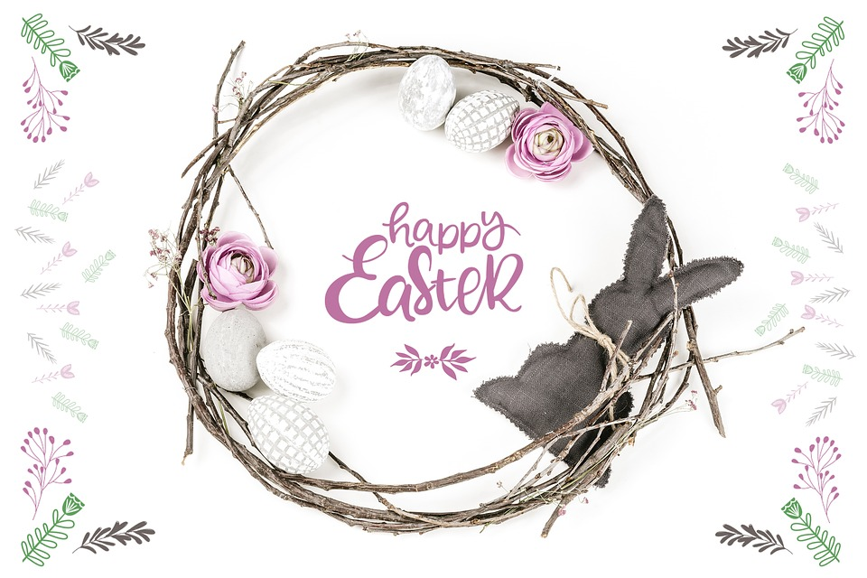 Happy Easter, Happy, Easter, Bunny, Flowers, Cute