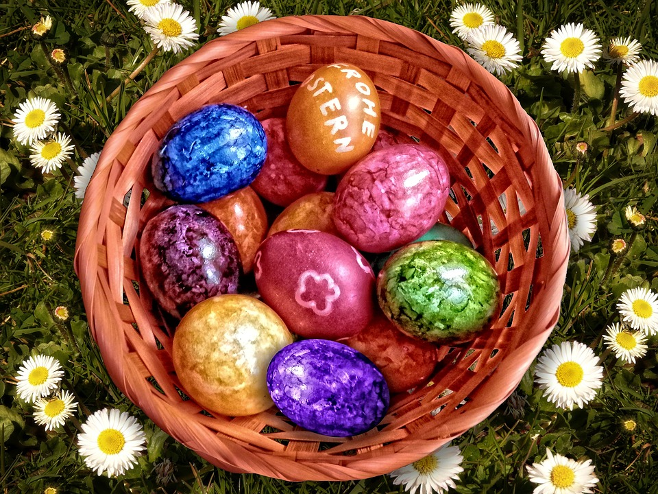 Easter Nest, Easter, Easter Eggs, Colorful, Basket