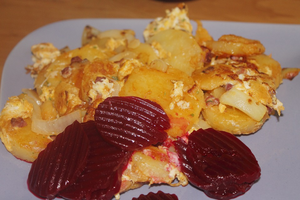 Fried Potatoes, Beetroot, Eat, Meal, Food, Delicious